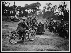 Motor machine gunners starting out on a 'stunt'