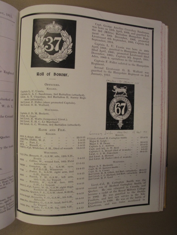 Roll of Honour April 1915 - RJ May 1915