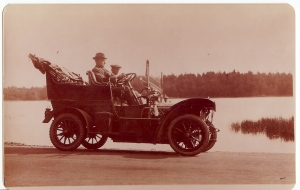 Victoria 4 cylinder car. made by Victoria Motor Works, Godalming 1908. Driver and Passenger unknown