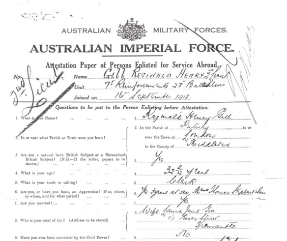 extract from Attestation Paper of Persons Enlisted for Service Abroad - Sept 1915