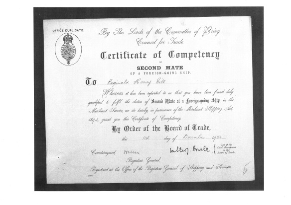 Certificate of Competency - Second Mate 11 Dec 1903