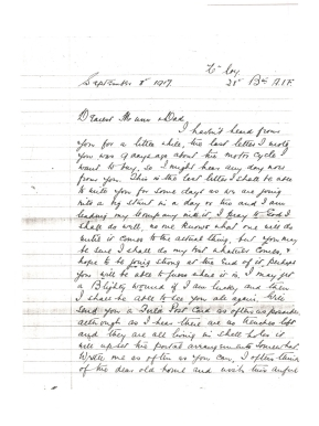 1917.09.08 - RHG letter to Mum & Dad p1